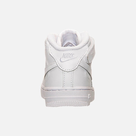 Back view of Toddler Nike Air Force 1 Mid Basketball Shoes in White
