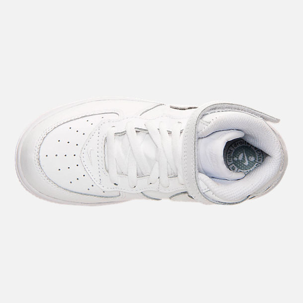 Top view of Toddler Nike Air Force 1 Mid Basketball Shoes in White