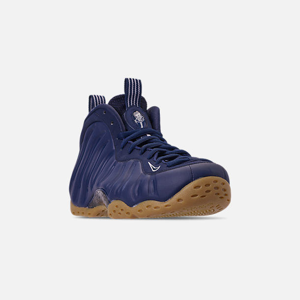 Three Quarter view of Men's Nike Air Foamposite One Basketball Shoes in Midnight Navy