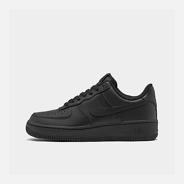 Right view of Women's Nike Air Force 1 Low Casual Shoes in Black/Black