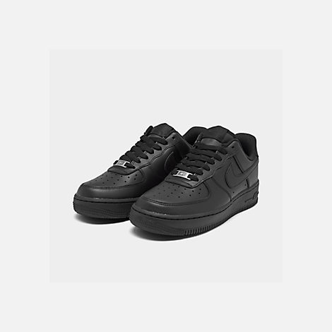 Three Quarter view of Women's Nike Air Force 1 Low Casual Shoes in Black/Black
