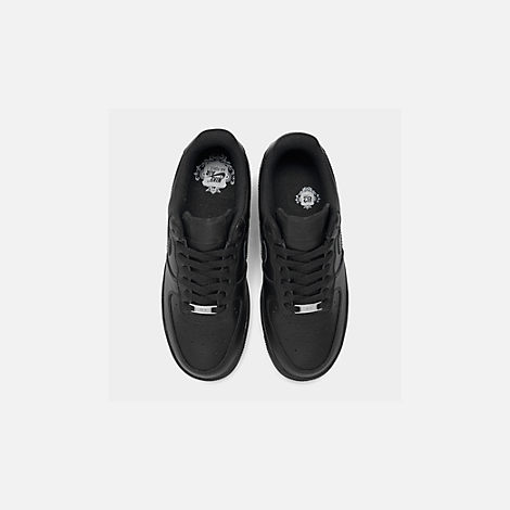 Back view of Women's Nike Air Force 1 Low Casual Shoes in Black/Black