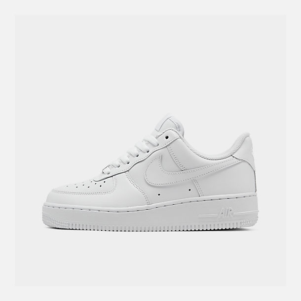Right view of Women's Nike Air Force 1 Low Casual Shoes in White/White/White