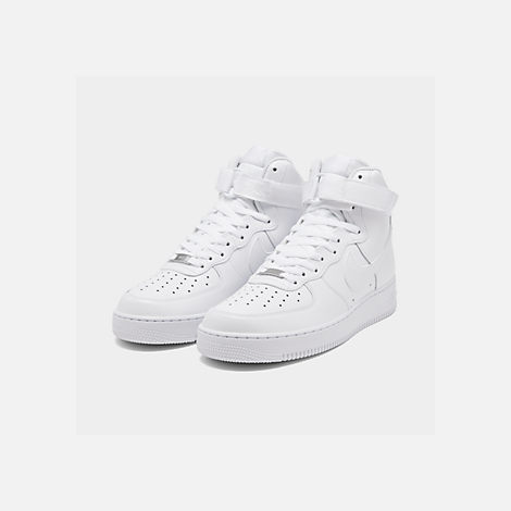Three Quarter view of Men's Nike NBA Air Force 1 High 07 Casual Shoes in White/White