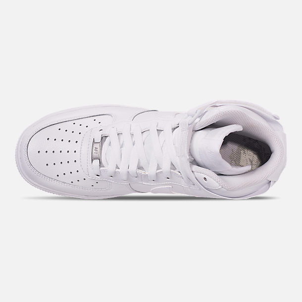 Top view of Men's Nike NBA Air Force 1 High 07 Casual Shoes in White/White