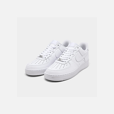 Three Quarter view of Men's Nike Air Force 1 Low Casual Shoes in White/White