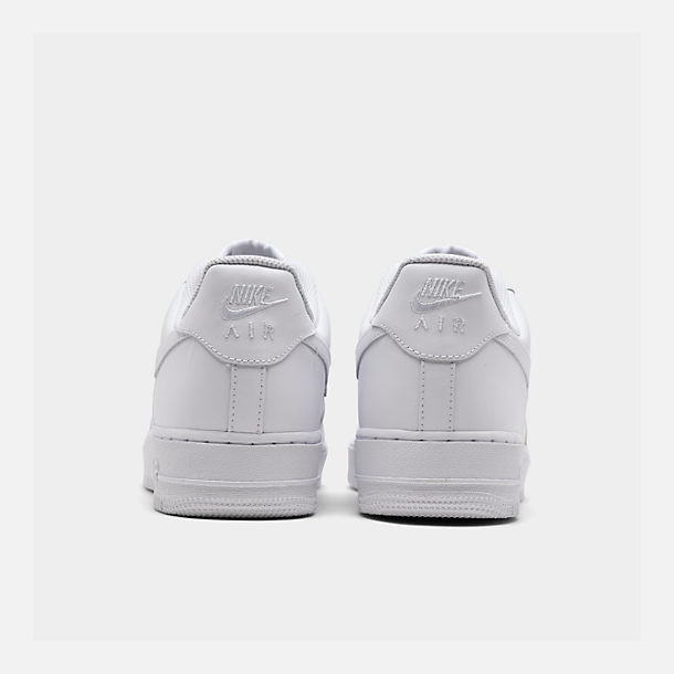 Left view of Men's Nike Air Force 1 Low Casual Shoes in White/White
