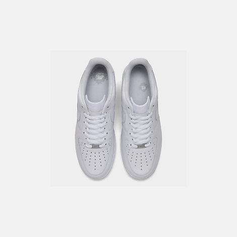 Back view of Men's Nike Air Force 1 Low Casual Shoes in White/White