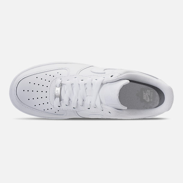 Top view of Men's Nike Air Force 1 Low Casual Shoes in White/White