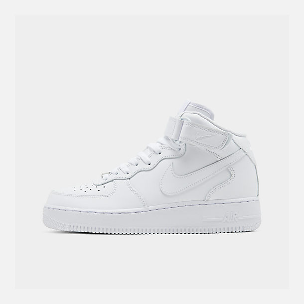 Right view of Men's Nike Air Force 1 Mid Casual Shoes in White/White