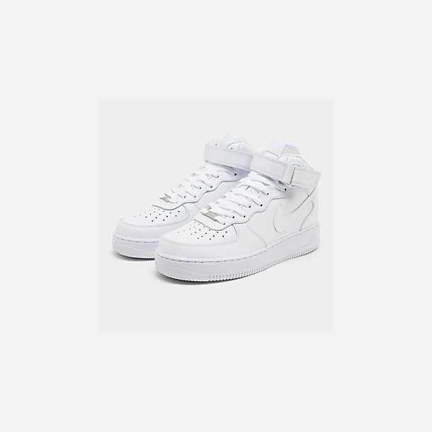 Three Quarter view of Men's Nike Air Force 1 Mid Casual Shoes in White/White