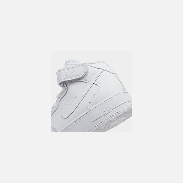 Front view of Men's Nike Air Force 1 Mid Casual Shoes in White/White