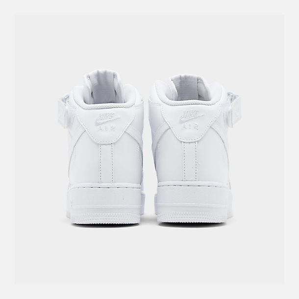 Left view of Men's Nike Air Force 1 Mid Casual Shoes in White/White