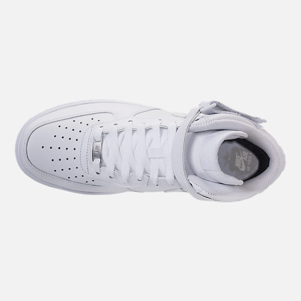 Top view of Men's Nike Air Force 1 Mid Casual Shoes in White/White
