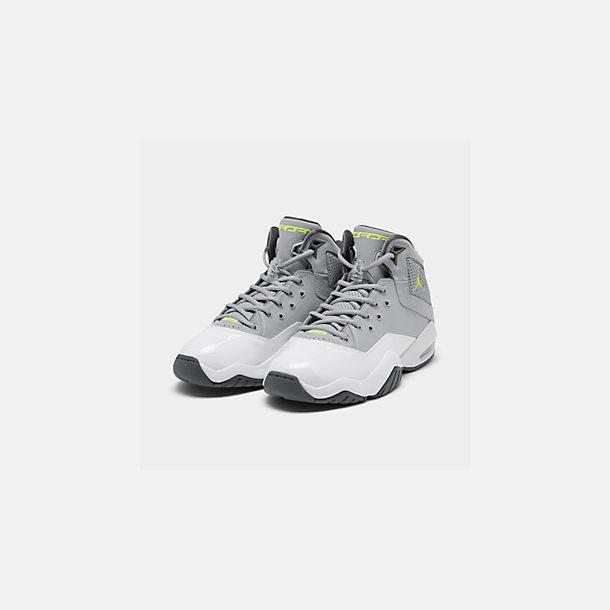 buy online becd2 63ab4 Three Quarter view of Men s Jordan B Loyal Basketball Shoes in Wolf Grey  Volt