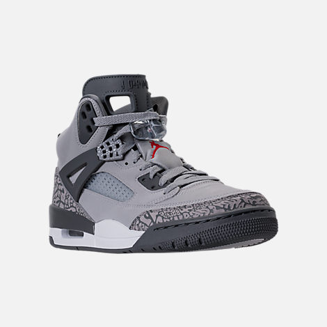 Three Quarter view of Men's Air Jordan Spizike Off-Court Shoes in Wolf Grey/Cement Grey/White