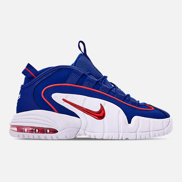 Right view of Boys' Grade School Nike Air Max Penny Basketball Shoes in Deep Royal Blue/Gym Red/White