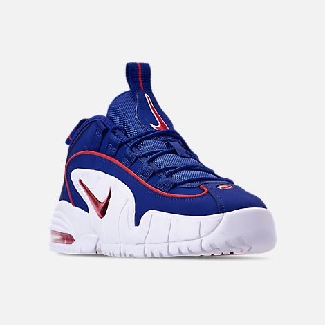 Three Quarter view of Boys' Grade School Nike Air Max Penny Basketball Shoes in Deep Royal Blue/Gym Red/White