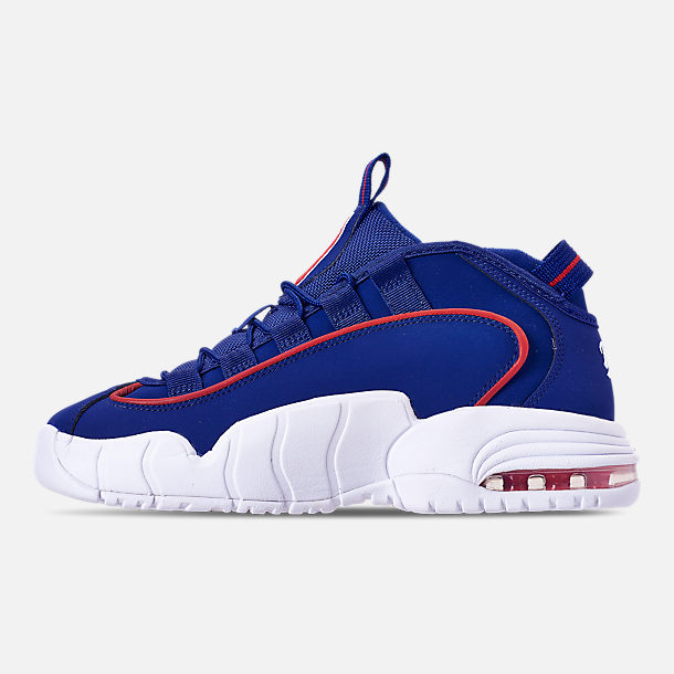Left view of Boys' Grade School Nike Air Max Penny Basketball Shoes in Deep Royal Blue/Gym Red/White