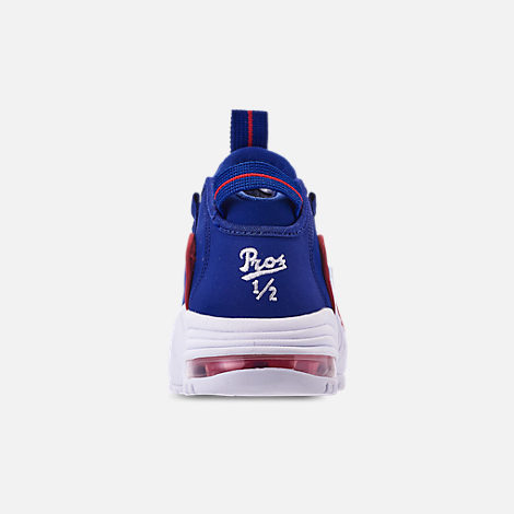 Back view of Boys' Grade School Nike Air Max Penny Basketball Shoes in Deep Royal Blue/Gym Red/White