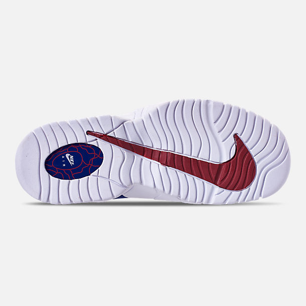 Bottom view of Boys' Grade School Nike Air Max Penny Basketball Shoes in Deep Royal Blue/Gym Red/White