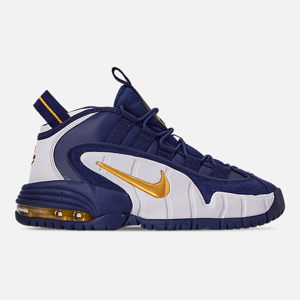 Right view of Boys' Big Kids' Nike Air Max Penny Basketball Shoes in Deep Royal/Amarillo/White