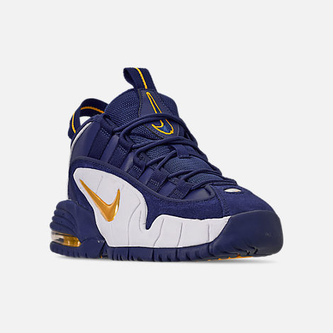 Three Quarter view of Boys' Big Kids' Nike Air Max Penny Basketball Shoes in Deep Royal/Amarillo/White