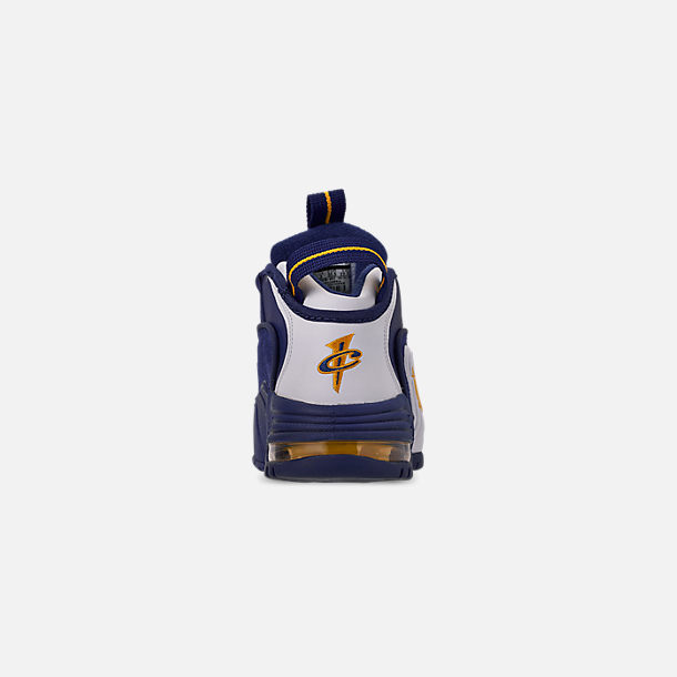 Back view of Boys' Big Kids' Nike Air Max Penny Basketball Shoes in Deep Royal/Amarillo/White
