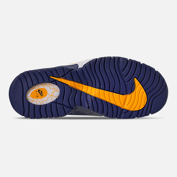 Bottom view of Boys' Big Kids' Nike Air Max Penny Basketball Shoes in Deep Royal/Amarillo/White