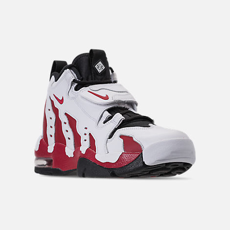 Three Quarter view of Men's Nike Air Diamond Turf Max '96 Training Shoes in White/Varsity Red/Black