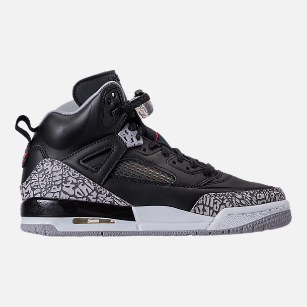 Right view of Boys' Grade School Jordan Spizike Basketball Shoes in Black/Varsity Red/Cement Grey