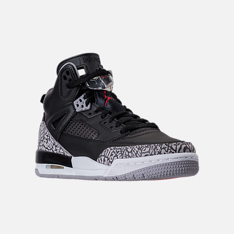 Three Quarter view of Boys' Grade School Jordan Spizike Basketball Shoes in Black/Varsity Red/Cement Grey