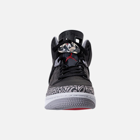 Front view of Boys' Grade School Jordan Spizike Basketball Shoes in Black/Varsity Red/Cement Grey