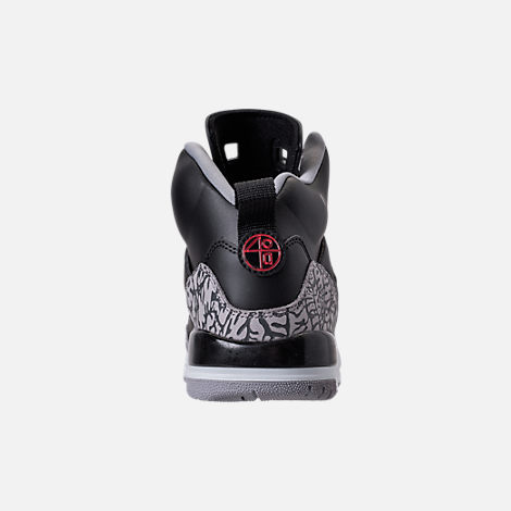 Back view of Boys' Grade School Jordan Spizike Basketball Shoes in Black/Varsity Red/Cement Grey