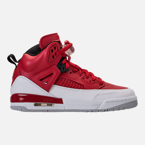 Right view of Boys' Grade School Jordan Spizike Basketball Shoes in Gym Red/Black/White/Wolf Grey