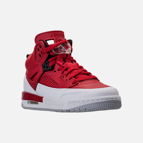 Three Quarter view of Boys' Grade School Jordan Spizike Basketball Shoes in Gym Red/Black/White/Wolf Grey