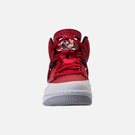 Front view of Boys' Grade School Jordan Spizike Basketball Shoes in Gym Red/Black/White/Wolf Grey