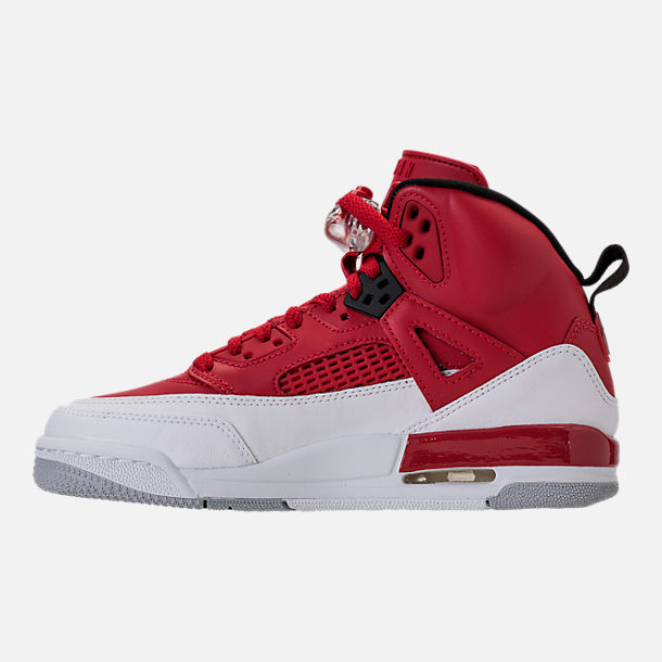Left view of Boys' Grade School Jordan Spizike Basketball Shoes in Gym Red/Black/White/Wolf Grey