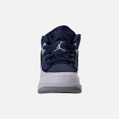 Front view of Kids' Toddler Jordan Spizike Basketball Shoes in Midnight Navy/Metallic Silver