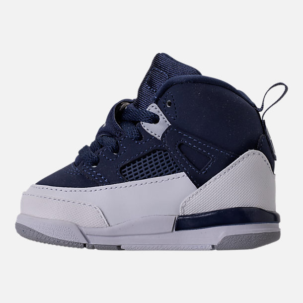 Left view of Kids' Toddler Jordan Spizike Basketball Shoes in Midnight Navy/Metallic Silver