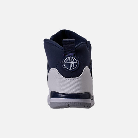 Back view of Kids' Toddler Jordan Spizike Basketball Shoes in Midnight Navy/Metallic Silver