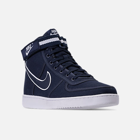 Three Quarter view of Men's Nike Vandal High Supreme Casual Shoes in ObsidianWhite