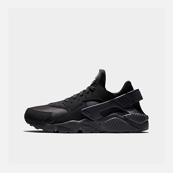 Right view of Men s Nike Air Huarache Run Casual Shoes in Black Black White d13c77026