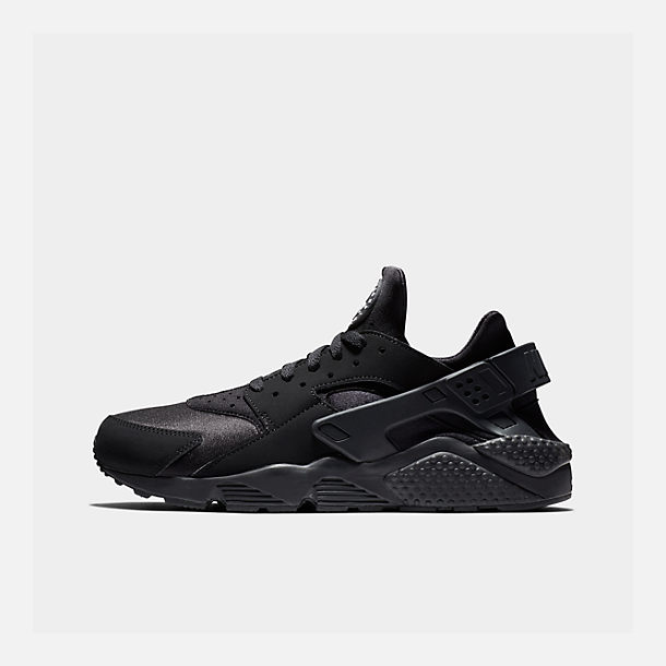 Right view of Men's Nike Air Huarache Run Running Shoes in Black/Black/White