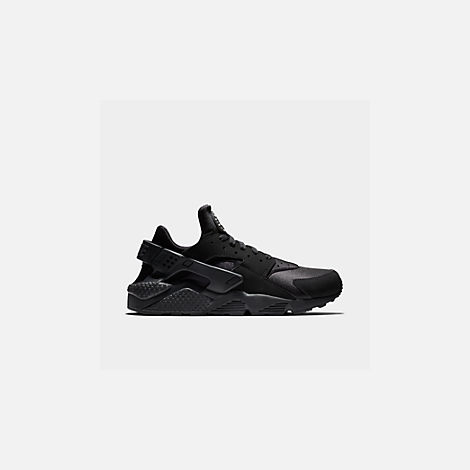Front view of Men's Nike Air Huarache Run Casual Shoes in Black/Black/White
