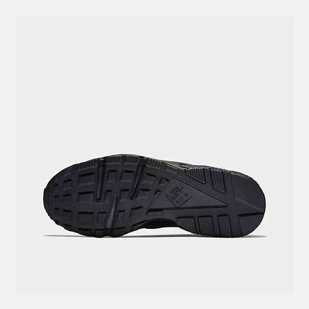 Bottom view of Men's Nike Air Huarache Run Running Shoes in Black/Black/White