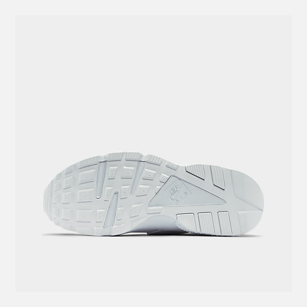 Bottom view of Men's Nike Air Huarache Run Casual Shoes in White/White/Pure Platinum