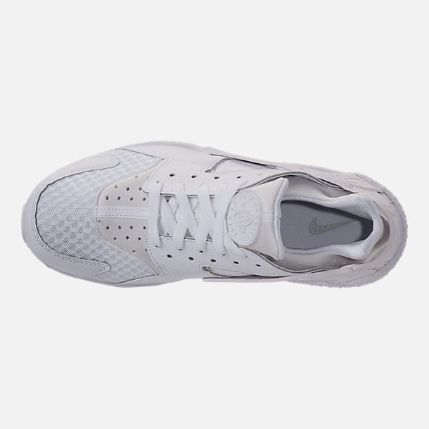 Top view of Men's Nike Air Huarache Run Casual Shoes in White/White/Pure Platinum