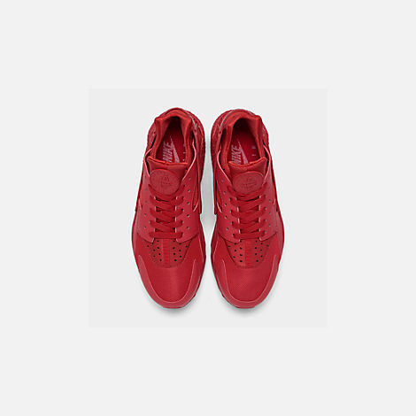 Back view of Men's Nike Air Huarache Run Running Shoes in Red/Red