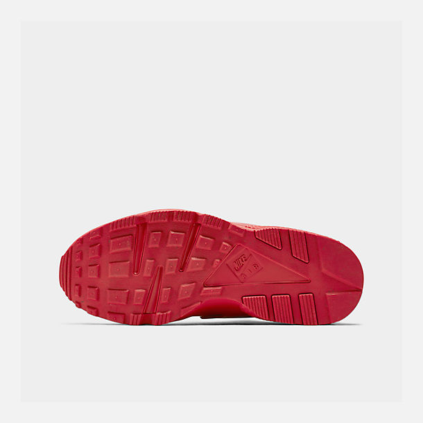 Bottom view of Men's Nike Air Huarache Run Running Shoes in Red/Red